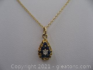14kt Gold Diamond and Sapphire Necklace