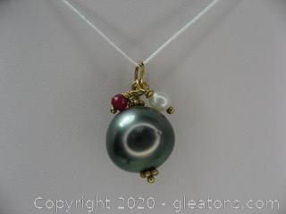 Tahitian Pearl Pendant W/Ruby & Pearl Drop
