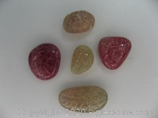 Lot of Carved Yellow and Pink Sapphires
