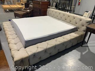 Tufted Upholstered Bed Frame and Nectar Queen Mattress