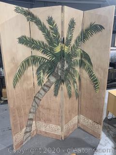 Handpainted Palm Tree Room Divider