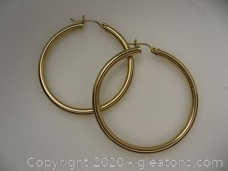 14kt Yellow Gold Tube Hoop Earrings QUALIFIES FOR FREE SHIPPING