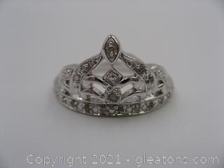 Diamond Crown Ring in Sterling Silver QUALIFIES FOR FREE SHIPPING