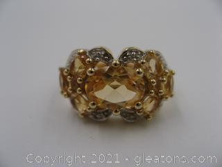 Citrine and Diamond Ring QUALIFIES FOR FREE SHIPPING