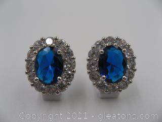 Imitation Sapphire and CZ Earrings