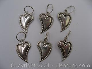 Heart Charm Lot 6