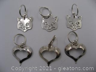 Cat and Heart Charm Lot 2