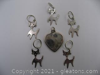 Cat and Heart Charm Lot 3