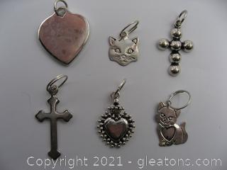 Cat, Cross and Heart Charm Lot