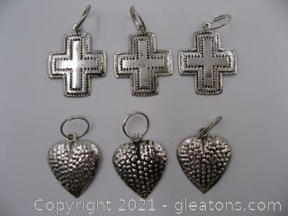 Cross and Heart Charm Lot 1