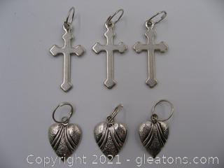 Cross and Heart Charm Lot 2