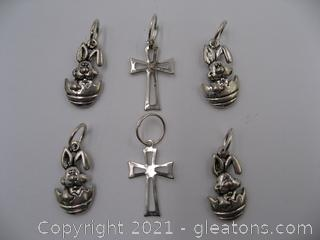 Easter Bunny and Cross Charm Lot