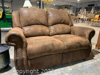 Suede Rocking Reclining Loveseat