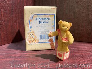 Cherished Teddies- Bear with Heart Dangling Blocks
