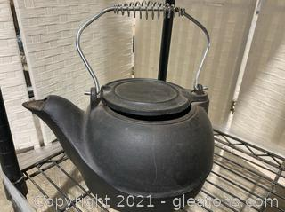 Cast Iron Tea Kettle With Metal Handle
