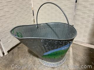 Galvanized Tin Basket Planter