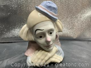 Hand Crafted Porcelain Clown Bust