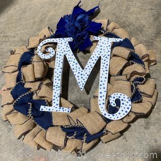 """""""M"""" Lettered Burlap and Blue Floral Wreath"""