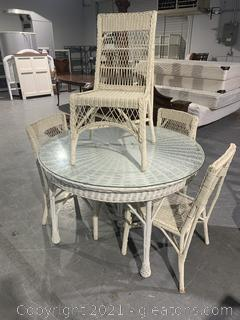 Glass Top White Wicker Table and Chairs