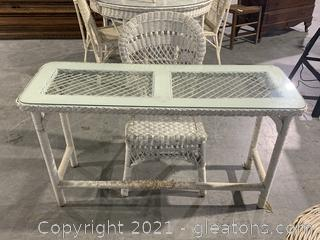 Glass Top Wicker Table and Chair