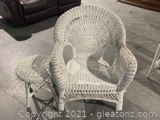White Wicker Arm Chair and Side Table