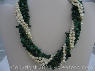 Malachite and Pearl 7 Strand Necklace QUALIFIES FOR FREE SHIPPING