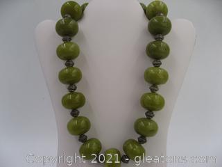 Large Green Jasper Beaded Necklace QUALIFIES FOR FREE SHIPPING