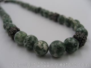 Green Spot Jasper Beaded Necklace QUALIFIES FOR FREE SHIPPING