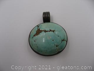 Sterling Silver Turquoise Pendant QUALIFIES FOR FREE SHIPPING