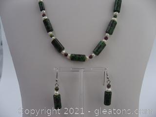 Ruby in Zoisite and Pearl Set QUALIFIES FOR FREE SHIPPING