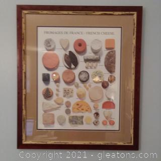 Framed Fromages De France/French Cheese Print