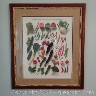 Framed LeGumes D'ete/Summer Vegetables Print