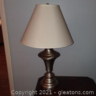 Satin Nickel Metal Table lamp With Shade (A)