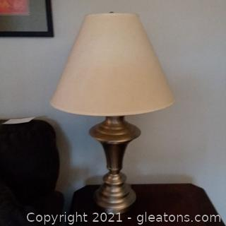 Satin Nickel/Metal Table Lamp with Shade (B)
