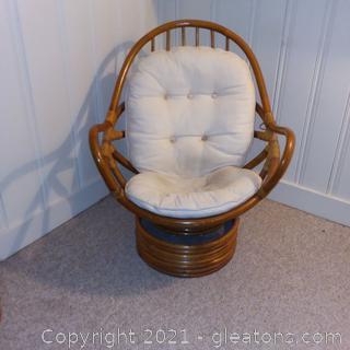 Bamboo Rattan Swivel Rocking Chair- 1970's