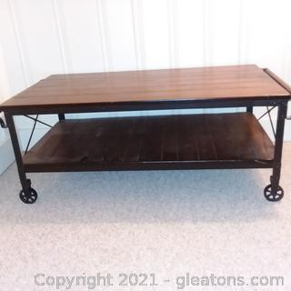 2 Shelf Rustic Look Rolling Cocktail/Coffee table