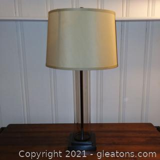 Modern Glass Cylinder Table Lamp with Shade