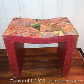 Handcrafted Patchwork Wooden Bench From Mexico