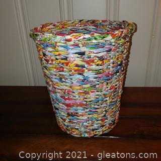 Handcrafted Waste Basket made from Colorful Woven Recycled Magazine Pages