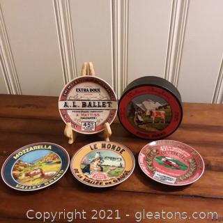 Set of 4 Cheese Themed Bistro Plates in Presentation Box