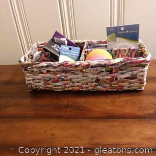 Handcrafted 3 Section Basket Woven from Colorful Recycled Magazine Pages (Includes Contents)
