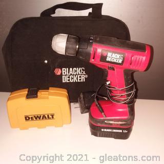 Black and Decker Cordless Compact Drill-Dewalt Drill Bit Set