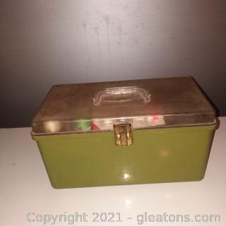 1960-70's Plastic Sewing Box with Contents