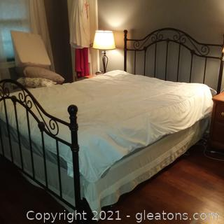 Beautiful Queen Size Iron Bed (Mattress and Box Springs included)