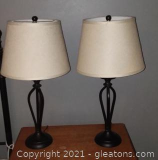 Pair of Decorative Metal Table Lamps with Shades