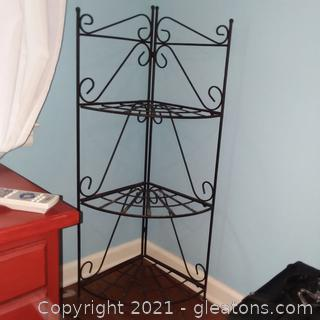 Folding Wrought Iron 3 Tier Corner Shelf