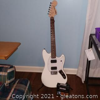 Squier Fender Mustang Electric Guitar with Stand