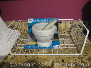 "Marble Mortar and Pestle and a 16"" Undershelf Basket"
