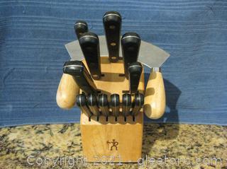 Henckels 1895 Eversharp 16-pc Knife Set in Wooden Block