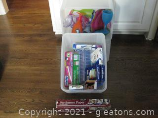 2 Tubs of Plastic Drinkware and Various Storage Materials